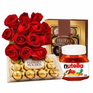Presente de 12 Rosas Vermelhas e Ferrero Rocher