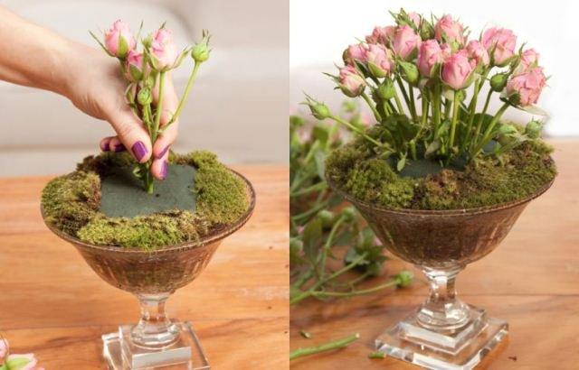 Arranjo de flores com esponja