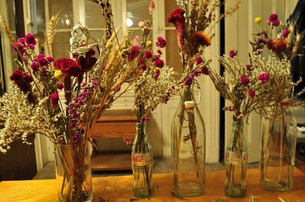 Arranjo de flores desidratadas