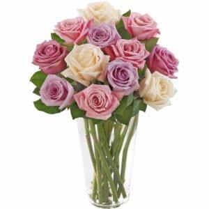 Arranjos de Flores - Brilhantes Rosas Mescladas no Vaso