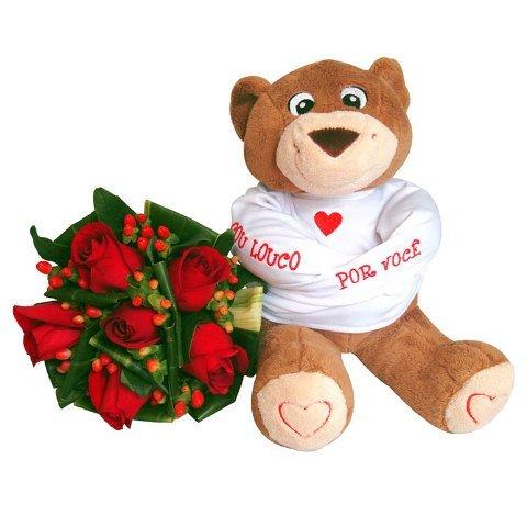 Buquê de rosas e Urso de Pelúcia