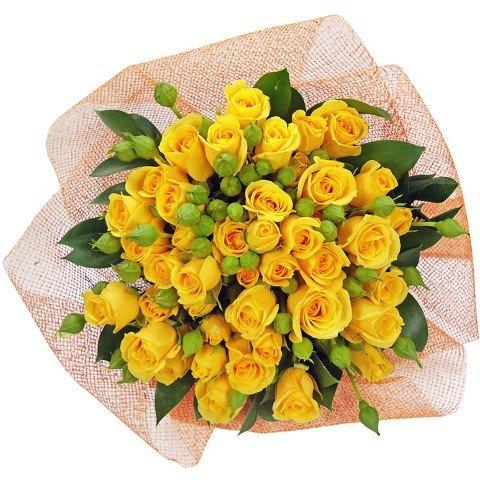 Buquê de mini rosas amarelas