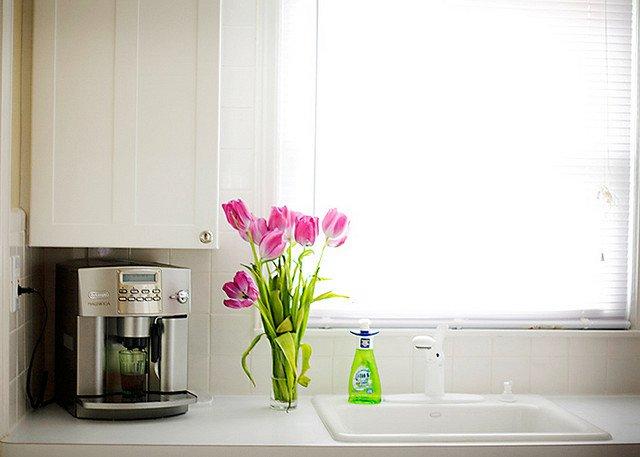 Cozinha com flores