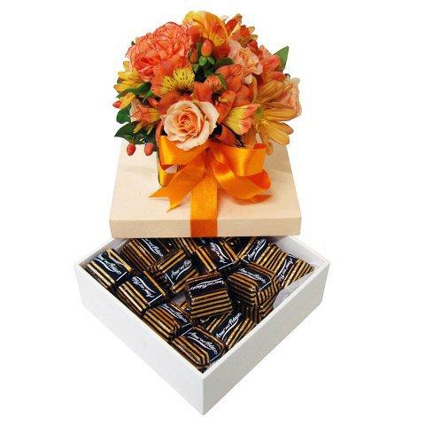 Flores laranja e chocolate Amor aos pedaços
