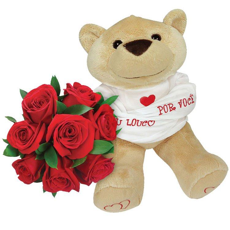 Flores e Urso de Pelúcia - Ah! Te Amo