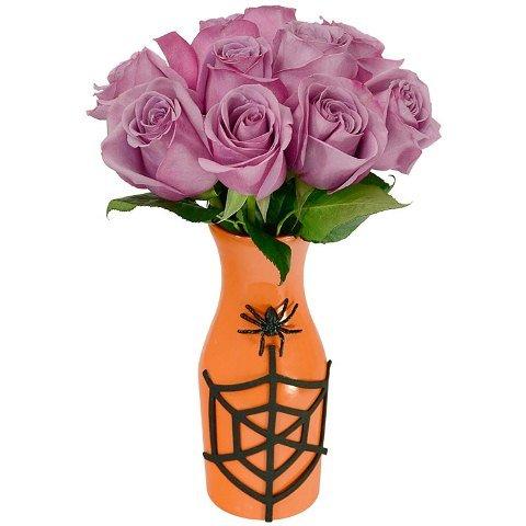 Rosas em Vaso Laranja