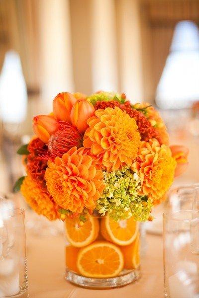 Arranjos de Flores para Mesa com laranja