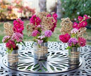 Arranjos de Flores para Mesa com material reciclado