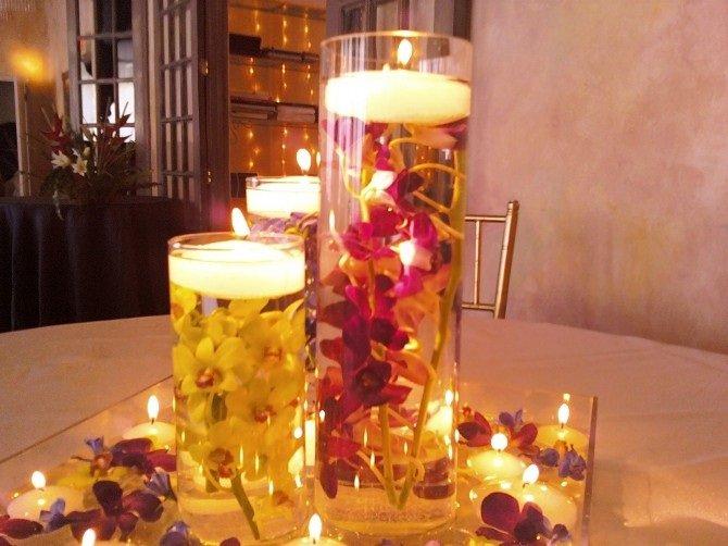 Arranjos de Flores para Mesa com velas