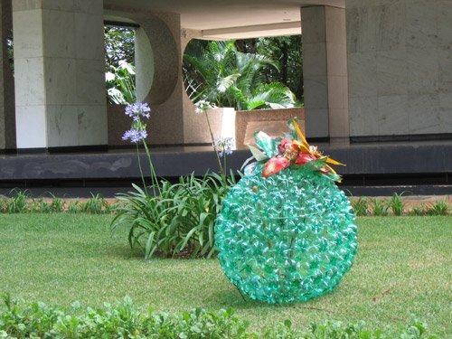 Reutilize Materiais para Montar um Jardim em Casa -> Decoração De Jardim Com Material Reciclavel