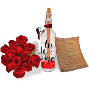 Carta de Amor na Garrafa com Rosas Vermelhas