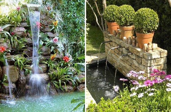 Decore seu Jardim com Flores e Fontes Blog Giuliana Flores -> Decoração De Jardins Com Pedras E Flores