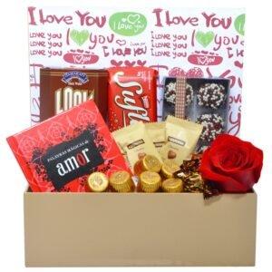 Cesta Doce Amor - Flores e Chocolate