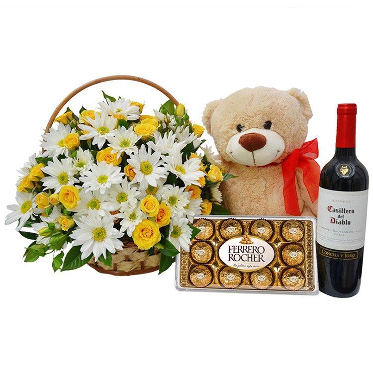 vinho e flores