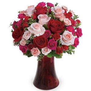 Rosa spray em vaso vermelho