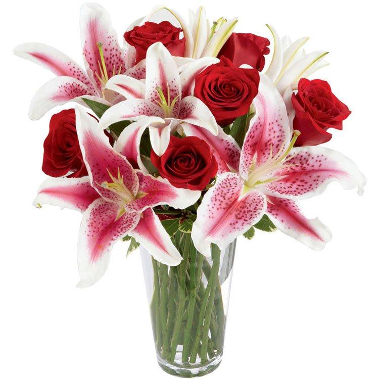 Janeiro do Amor - Rosas e Lírios no Vaso