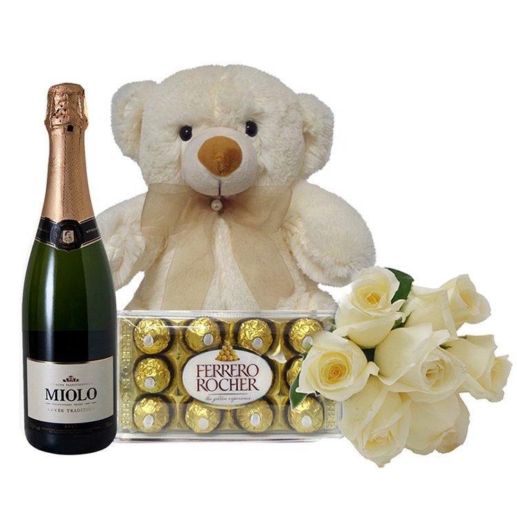 Presentes para mulher - urso, rosas,chocolate e vinho