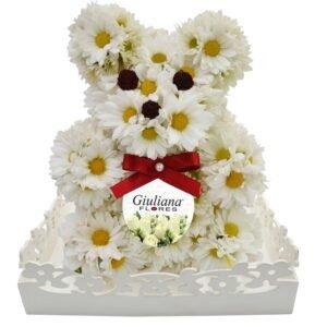 Urso de Flores Brancas - presentes para o dia das crianças