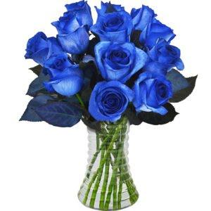 Luxuosas 12 Rosas Azuis