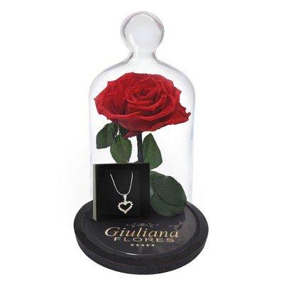 rosa encantada acompanhada de joia