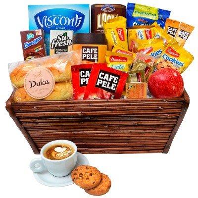 presenteie com uma cesta de café da manhã
