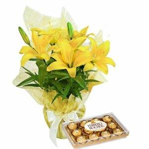 Lírio Amarelo Plantado e Ferrero