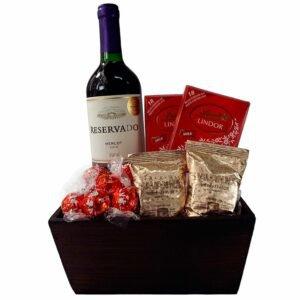Cesta de Chocolates e Vinho