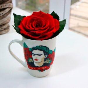 Caneca Frida Kahlo e Rosa Encantada Vermelha