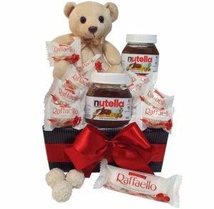 Cesta de Chocolate Delícias Nutella e Rafaello