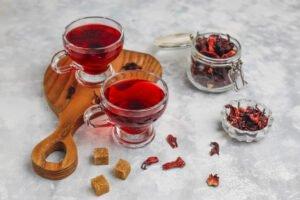 xícaras de chá de Hibisco