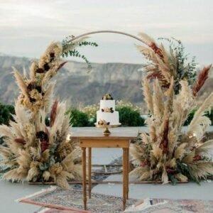 arco com capim dos pampas em volta de uma mesa com bolo