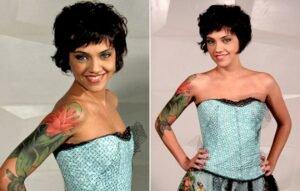 Leticia Persiles mostrando a tatuagem